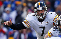 ORCHARD PARK, NY - NOVEMBER 28:  Ben Roethlisberger #7 of the Pittsburgh Steelers calls out signals during the game against the Buffalo Bills on November 28, 2010 at Ralph Wilson Stadium in Orchard Park, New York.  (Photo by Jared Wickerham/Getty Images)