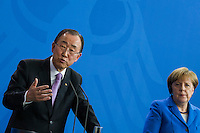 08 March 2016 - Berlin, Germany - German Chancellor Angela Merkel welcomes the UN Secretary-General Ban Ki-moon on International Women's Day March 8, 2016 at the Federal Chancellery in Berlin. After talking both come before the press. The Chancellor stressed in the press conference that it had gone in the joint discussion with the General primarily concerned with the situation of refugees. The UN Secretary-General praises the commitment of the Chancellor in the refugee crisis by saying that the Chancellor was &quot;the voice of morality&quot;. <br /> Photo Credit: Stocki/face to face/AdMedia
