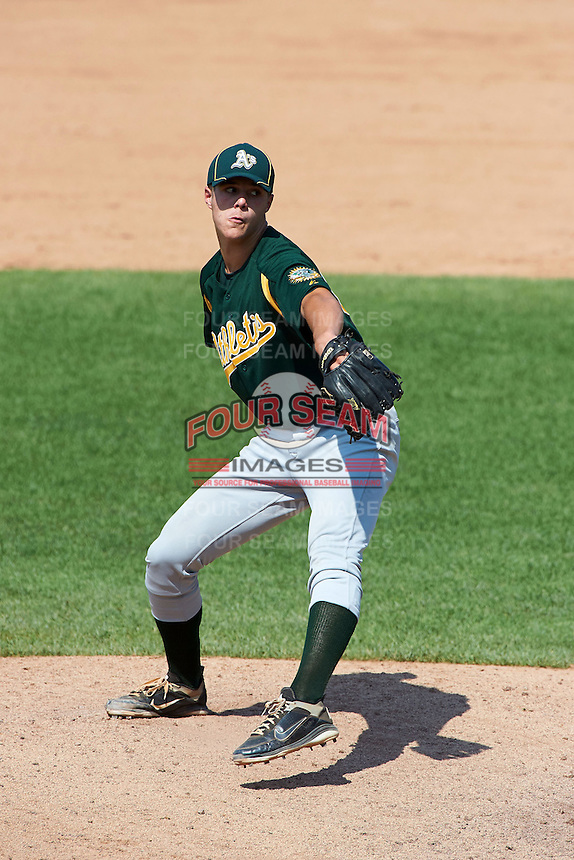 Dakota Hudson #62 of Sequatchie County High School in Dunlap, Tennessee playing for the Oakland Athletics scout team during the East Coast Pro Showcase at Alliance Bank Stadium on August 3, 2012 in Syracuse, New York.  (Mike Janes/Four Seam Images)