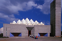 School children lined up in front of the new cathedral or Catedral de la Inmaculada Concepcion de Maria in Managua, Nicaragua. This cathedral, which was built in 1993, was designed by Mexican architect Ricardo Legorretta..