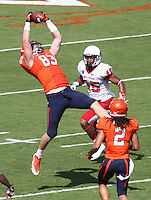 Virginia tight end Jake McGee (83) Ball State defeated Virginia 48-27 during an NCAA football game Saturday Oct. 5, 2013 at Scott Stadium in Charlottesville, VA. Photo/Andrew Shurtleff