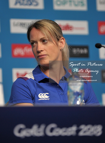 Eilidh Doyle (SCO). Team Scotland press conference. Main press centre. Gold Coast 2018. Queensland. Australia. 04/04/2018. ~ MANDATORY CREDIT Garry Bowden/SIPPA - NO UNAUTHORISED USE - +44 7837 394578