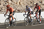 Paddy Bevin (NZL) CCC Team followed by Diego Ulissi (ITA) UAE Team Emirates and Robert Power (AUS) Team Sunweb attack at the foot of the final climb during Stage 3 of the 2019 UAE Tour, running 179km form Al Ain to Jebel Hafeet, Abu Dhabi, United Arab Emirates. 26th February 2019.<br /> Picture: LaPresse/Fabio Ferrari | Cyclefile<br /> <br /> <br /> All photos usage must carry mandatory copyright credit (© Cyclefile | LaPresse/Fabio Ferrari)