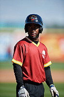 Quad Cities River Bandits Marcos Almonte (1) during batting practice before a game against the Lake County Captains on May 6, 2017 at Modern Woodmen Park in Davenport, Iowa.  Lake County defeated Quad Cities 13-3.  (Mike Janes/Four Seam Images)