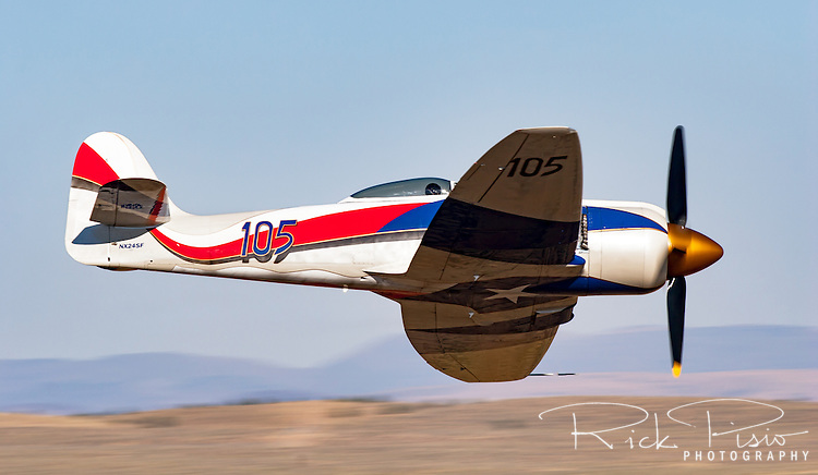 Owned and piloted by Stewart Dawson, the Hawker Sea Fury Spirit of Texas, Race 105, races through the Valley of Speed during the 2006 Reno Championship Air Races.