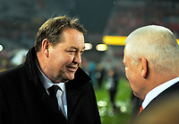All Blacks head coach Steve Hansen chats with Lions head coach Warren Gatland (right) after the 2017 DHL Lions Series rugby union 3rd test match between the NZ All Blacks and British & Irish Lions at Eden Park in Auckland, New Zealand on Saturday, 8 July 2017. Photo: Dave Lintott / lintottphoto.co.nz