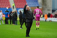 Steve Cooper Head Coach of Swansea City celebrates at full time during the Sky Bet Championship match between Wigan Athletic and Swansea City at The DW Stadium in Wigan, England, UK. Saturday 2 November 2019