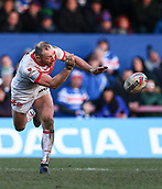 10th February 2019, Belle Vue, Wakefield, England; Betfred Super League rugby, Wakefield Trinity versus St Helens; James Roby of St Helens passes the ball
