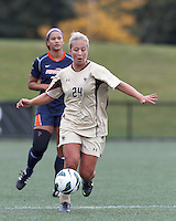Boston College forward Rachel Davitt (24) brings the ball forward. Pepperdine University defeated Boston College,1-0, at Soldiers Field Soccer Stadium, on September 29, 2012.