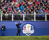 25.09.2014. Gleneagles, Auchterarder, Perthshire, Scotland.  The Ryder Cup.  Thomas Bjorn (EUR) tees of on the first hole during his practise round.