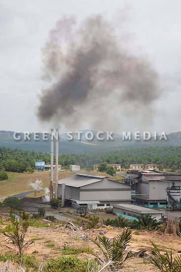 The Sindora Palm Oil Mill surrounded by the Sindora Palm Oil Plantation. Owned by Kulim, the mill and plantation are green certified by the Roundtable on Sustainable Palm Oil (RSPO) for their environmental, economic, and socially sustainable practices. Johor Bahru, Malaysia
