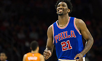 Nov 19, 2016; Philadelphia, PA, USA; Philadelphia 76ers center Joel Embiid (21) reacts after a defensive stop against the Phoenix Suns during the second half at Wells Fargo Center. The Philadelphia 76ers won 120-105. Mandatory Credit: Bill Streicher-USA TODAY Sports ORG XMIT: USATSI-323734 ORIG FILE ID:  20161119_gma_sq4_322.jpg