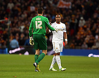 Pictured:  Matt Duke (L) and Ashley Williams (R). Sunday 24 February 2013<br /> Re: Capital One Cup football final, Swansea v Bradford at the Wembley Stadium in London.