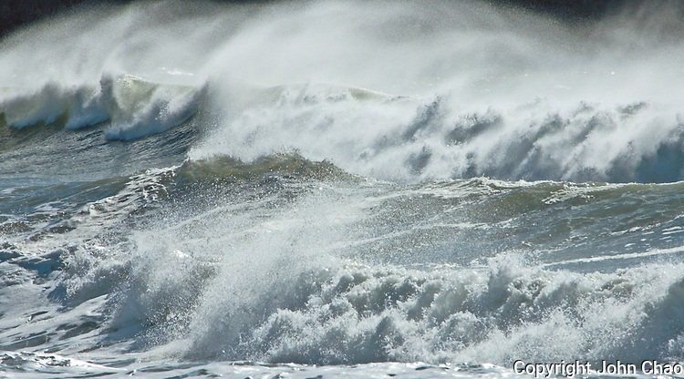 Windblown waves at Rialto Beach, Olympic National Park, Washington State.