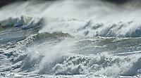 Windblown waves at Rialto Beach, Olympic National Park, Washington State.