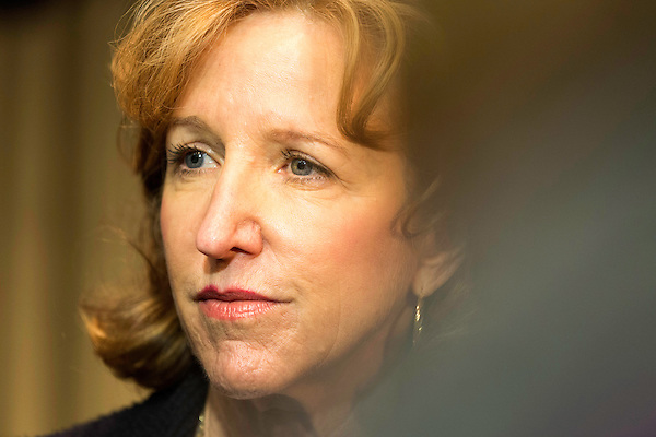 """April 16, 2014. Durham, North Carolina.<br />  Senator Kay Hagan spoke with the press after an event to award a posthumous Bronze Star. Hagan has been largely absent from the campaign trail even as several Republican challengers have mounted campaigns to defeat her in this year's election.<br />  Kay Hagan (D),  US Senator from North Carolina, attended an event to honor the military service of Donald """"Buddy"""" Moore, Hagan awarded Moore's widow Wanda a posthumous Bronze Star, as well as several other medals, for his service in World War II."""