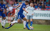Eden Hazard of Chelsea has a penalty appeal turned down after a challenge from Morgan Feeney of Everton during the U23 Premier League 2 match between Chelsea and Everton at the EBB Stadium, Aldershot, England on 25 August 2017. Photo by Andy Rowland.