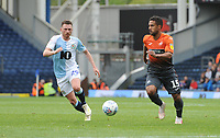 Swansea City's Wayne Routledge under pressure from Blackburn Rovers' Corry Evans<br /> <br /> Photographer Kevin Barnes/CameraSport<br /> <br /> The EFL Sky Bet Championship - Blackburn Rovers v Swansea City - Sunday 5th May 2019 - Ewood Park - Blackburn<br /> <br /> World Copyright © 2019 CameraSport. All rights reserved. 43 Linden Ave. Countesthorpe. Leicester. England. LE8 5PG - Tel: +44 (0) 116 277 4147 - admin@camerasport.com - www.camerasport.com