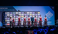 Team Katusha-Alpecin at the pre-race team presentation in the legendary Kuipke Velodrome<br /> <br /> Omloop Het Nieuwsblad 2018<br /> Gent &rsaquo; Meerbeke: 196km (BELGIUM)