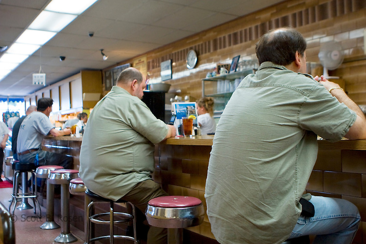 Men sit at counter at the famous Frank's Deli and Restaurant in Asbury Park, New Jersey