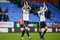 Bolton Wanderers' David Wheater and Josh Vela applauds the home fans at the end of the game<br /> <br /> Photographer Andrew Kearns/CameraSport<br /> <br /> The EFL Sky Bet Championship - Bolton Wanderers v Fulham - Saturday 10th February 2018 - Macron Stadium - Bolton<br /> <br /> World Copyright &copy; 2018 CameraSport. All rights reserved. 43 Linden Ave. Countesthorpe. Leicester. England. LE8 5PG - Tel: +44 (0) 116 277 4147 - admin@camerasport.com - www.camerasport.com