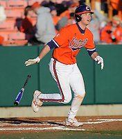 Ben Paulsen (10) hits during a game between the Charlotte 49ers and Clemson Tigers Feb. 20, 2009, at Doug Kingsmore Stadium in Clemson, S.C. (Photo by: Tom Priddy/Four Seam Images)