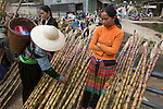 Hmong tribe shoppers at Muong Hum market, Vietnam.