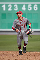 Andres Alvarez (3) of the Washington State Cougars in the field during a game against the Loyola Marymount Lions at Page Stadium on February 26, 2017 in Los Angeles, California. Loyola defeated Washington State, 7-4. (Larry Goren/Four Seam Images)