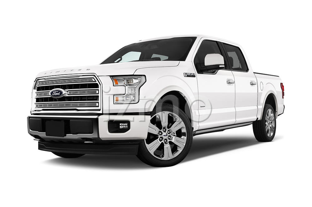 Stock pictures of low aggressive front three quarter view of 2017 Ford F-150 Limited-SuperCrew 4 Door Pickup Low Aggressive