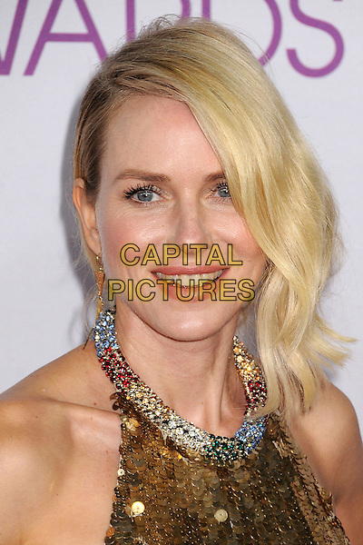 Naomi Watts.People's Choice Awards 2013 - Arrivals held at Nokia Theatre L.A. Live, Los Angeles, California, USA..January 9th, 2013.headshot portrait gold sleeveless sequins sequined collar embellished jewel encrusted halterneck.CAP/ADM/BP.©Byron Purvis/AdMedia/Capital Pictures.