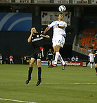 15 May 2004: Davy Arnaud (22) outjumps Joshua Gros (17) to head the ball in the second half. DC United defeated the Kansas City Wizards 1-0 at RFK Stadium in Washington, DC during a regular season Major League Soccer game..