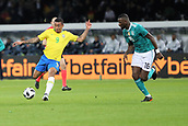27th March 2018, Olympiastadion, Berlin, Germany; International Football Friendly, Germany versus Brazil; Antonio Rudiger (Germany) and Gabriel Jésus  (Brazil) in action