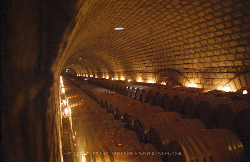 The Great Wall Winery wine cellar with rows and rows of wooden barrels (new wood). They have something like 10000 barrels made from French oak. Beijing, China, Asia