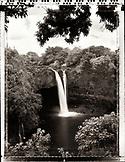 USA, Hawaii, Hilo, Rainbow Falls, The Big Island (B&W)