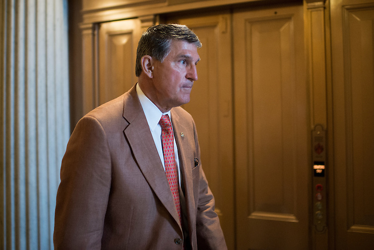 UNITED STATES - JUNE 2: Sen. Joe Manchin, D-W. Va., arrives for the Senate Democrats' policy lunch in the Capitol on Tuesday, June 2, 2015. (Photo By Bill Clark/CQ Roll Call)