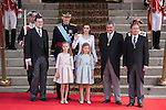 King Felipe VI of Spain and Queen Letizia of Spain arrive at Congreso de los Diputados with their children Princess Sofia and infant Elena for the celebration of the coronation ceremony in Madrid, Spain. Kin Juan I of Spain abdicated on his son Felipe at the beginning of June. June 19, 2013. (ALTERPHOTOS/Victor Blanco)
