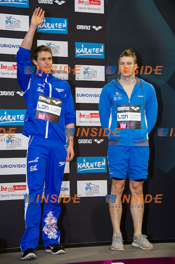 PROUD Benjamin GBR Bronze Medal (L)<br /> GOVOROV Andriy RUS Bronze Medal<br /> 50m Butterfly Men Final<br /> 32nd LEN European Championships <br /> Berlin, Germany 2014  Aug.13 th - Aug. 24 th<br /> Day07 - Aug. 19<br /> Photo G. Scala/Deepbluemedia/Inside