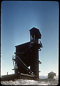 Coaling tower and tank - Chama. Photographed from low angle.<br /> D&amp;RGW  Chama, NM