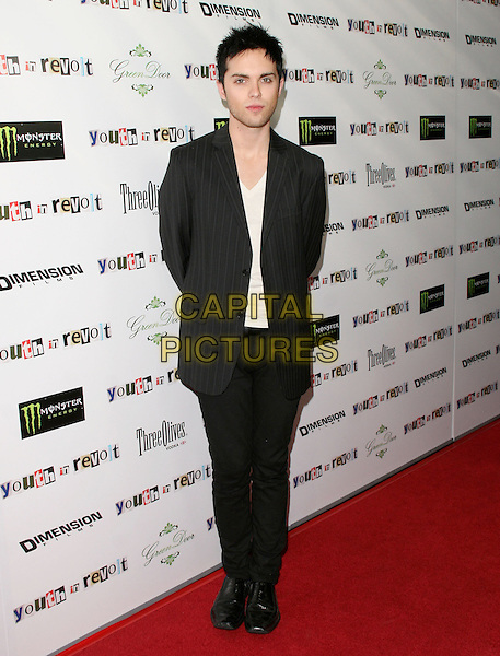 THOMAS DEKKER .The Weinstein Company Film premiere of ''Youth In Revolt'' held at The Mann Chinese 6 Theatre in Hollywood, California, USA..January 6th, 2010.full length white top black suit pinstripe  skinny thin .CAP/RKE/DVS.©DVS/RockinExposures/Capital Pictures.