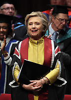 Pictured: Hillary Clinton after receiving an honorary degree at Swansea University Bay Campus. Saturday 14 October 2017<br /> Re: Hillary Clinton, the former US secretary of state and 2016 American presidential candidate will be presented with an honorary doctorate during a ceremony at Swansea University's Bay Campus in Wales, UK, to recognise her commitment to promoting the rights of families and children around the world.<br /> Mrs Clinton's great grandparents were from south Wales.
