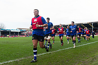 Jack Walker and the rest of the Bath Rugby team run off the field at the end of the pre-match warm-up. Anglo-Welsh Cup Final, between Bath Rugby and Exeter Chiefs on March 30, 2018 at Kingsholm Stadium in Gloucester, England. Photo by: Patrick Khachfe / Onside Images