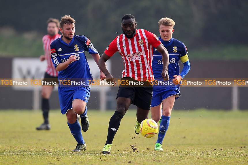 Tambeson Eyong in action for Hornchurch during AFC Hornchurch vs Aveley, Ryman League Divison 1 North Football at Hornchurch Stadium on 12th March 2016