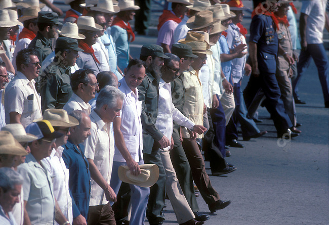 Fidel Castro, (center) President of Cuba, leads a May 1st march. Havana, Cuba, May 1, 1984.<br />