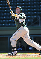 Catcher Blaise Salter (11) of the Michigan State Spartans hits in a game against the Northwestern Wildcats on Sunday, February 17, 2013, at Fluor Field at the West End in Greenville, South Carolina. Michigan State won, 7-4. (Tom Priddy/Four Seam Images)