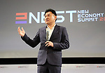 April 6, 2017, Tokyo, Japan - Japan's online commerce giant rakuten president Hiroshi Mikitani delivers an opening speech at the New Economy Summit 2017 in Tokyo on Thursday, April 6, 2017. Entrepreneurs and venture companies leaders hold a two-day seminnar.   (Photo by Yoshio Tsunoda/AFLO) LwX -ytd-