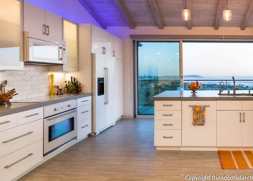 Skylark Residence, San Diego, completed in 2013. Remodel with ocean view. Detail of kitchen. Jen Landau Prior, designer.