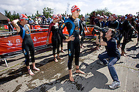 26 JUL 2008 - TREDEGAR, UK - Hollie Avil waits for the start of the race - British Elite Triathlon Championships. (PHOTO (C) NIGEL FARROW)