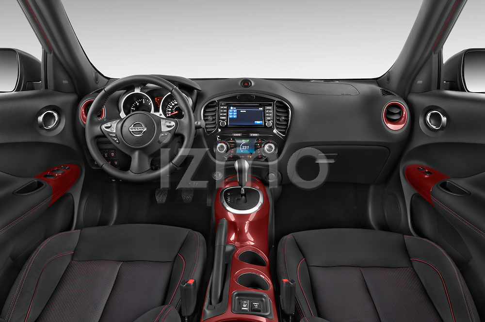 Stock photo of straight dashboard view of 2017 Nissan JUKE SV 5 Door SUV Dashboard
