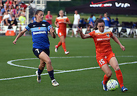 Kansas City, MO - Saturday May 07, 2016: FC Kansas City midfielder Mandy Laddish (7) chases down Houston Dash defender Allysha Chapman (15) during a regular season National Woman's Soccer League (NWSL) match at Swope Soccer Village. Houston won 2-1.