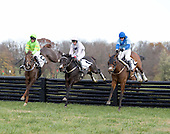 G'day G'day (r), Wazee Moto (center), and Music To My Ears take the last jump in the Arthur O. Choate Memoril at Unionville.